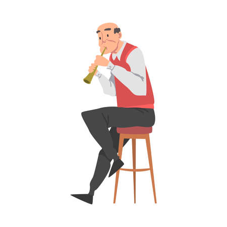 Elderly Man Playing Flute, Old Man Musician Character Cartoon Style Vector Illustration