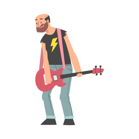 Elderly Man Playing Guitar, Old Man Musician Character Cartoon Style Vector Illustration