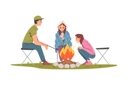Friends Sitting and Warming Near Campfire, Tourist People Hiking Together and Resting at Summer Camp or Picnic Cartoon Style Vector Illustration