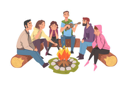 Group of Friends Sitting Near Campfire Playing and Listening Music, Tourist People Hiking Together and Resting at Summer Camp or Picnic Cartoon Style Vector Illustration