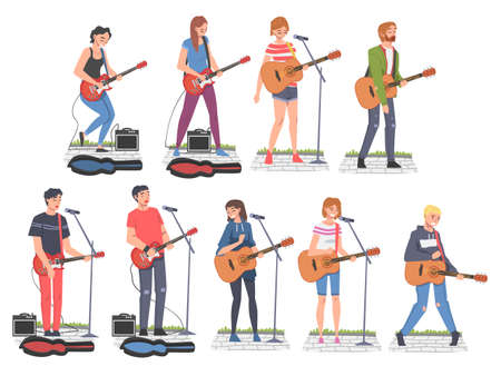 People Street Musicians Characters Playing Guitars Set, Live Performance Cartoon Style Vector Illustration