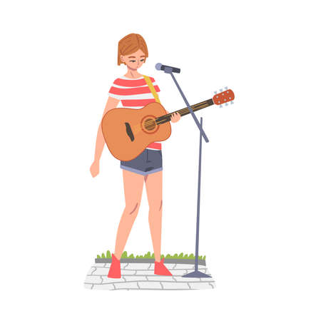 Girl Street Musician Playing Acoustic Guitar, Live Performance Concept Cartoon Style Vector Illustration