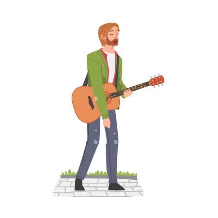 Street Male Musician Playing Acoustic Guitar, Live Performance Concept Cartoon Style Vector Illustration Ilustração