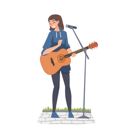 Street Female Musician Playing Acoustic Guitar, Live Performance Concept Cartoon Style Vector Illustration