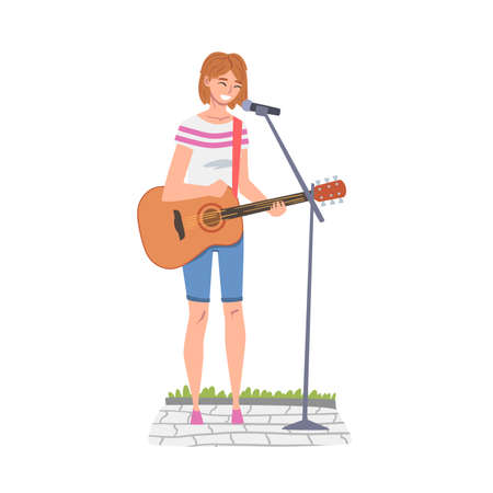 Street Female Musician Playing Acoustic Guitar and Singing, Live Performance Concept Cartoon Style Vector Illustration