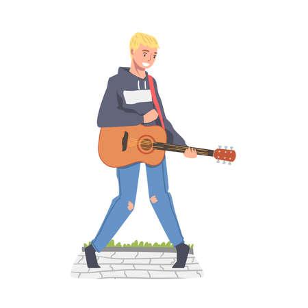 Male Street Guitarist Playing Acoustic Guitar, Live Performance Concept Cartoon Style Vector Illustration Ilustração