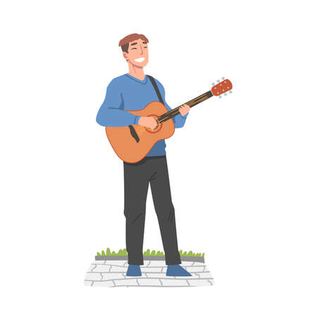 Cheerful Male Street Guitarist Character Playing Acoustic Guitar, Live Performance Concept Cartoon Style Vector Illustration Ilustração