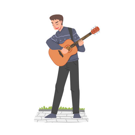 Male Street Guitarist Character Playing Acoustic Guitar, Live Performance Cartoon Style Vector Illustration