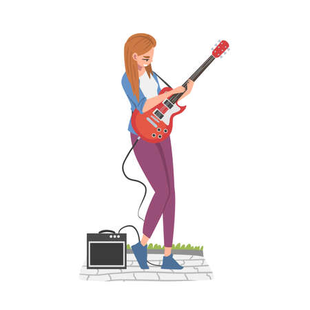 Street Female Musician Playing Electric Guitar, Live Performance Cartoon Style Vector Illustration