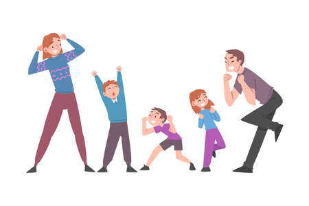 Excited Mom, Dad and Kids Celebrating Victory, Expressing Succes and Positive Emotions Cartoon Vector Illustration