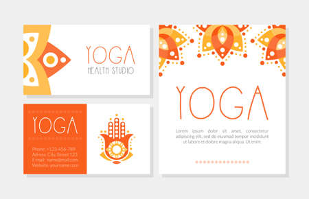 Yoga Health Studio Cards Collection, Spa Center, Traditional Medicine, Meditation Class and Spiritual Practice Hand Drawn Vector Illustration