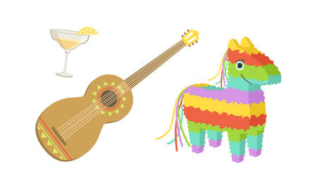 Traditional Cultural Symbols of Mexico Set, Pinata, Spanish Guitar and Glass of Tequila Cartoon Vector Illustration