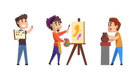 Male Hobby or Profession Set, Man Philatelist, Ceramist, Artist Cartoon Vector Illustration