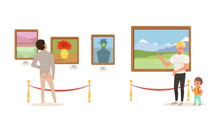 People Admiring Paintings at Exhibition, Visitors Viewing Exhibits at Classic Art Gallery or Museum Cartoon Vector Illustration