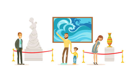 People Admiring Sculptures and Paintings at Exhibition, Visitors Viewing Exhibits at Art Gallery or Museum Cartoon Vector Illustration Vector Illustration