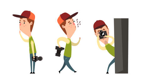 Paparazzi with Camera Set, Man Following Celebrity and Taking Photos Cartoon Vector Illustration on White Background. Ilustração