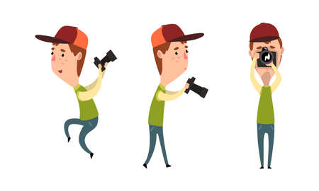 Paparazzi with Camera Set, Male Photographer Character with Camera in Various Poses Cartoon Vector Illustration