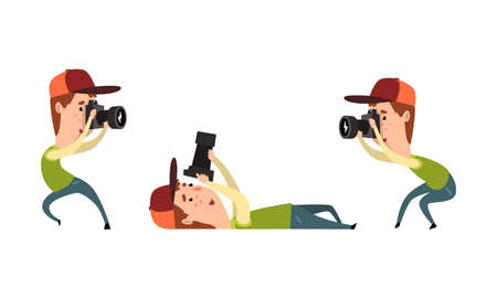 Man Paparazzi with Camera Set, Photographer with Camera in Various Poses Cartoon Vector Illustration
