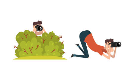 Paparazzi with Camera Sitting in Ambush, Set of Photographers Following Celebrity Cartoon Vector Illustration