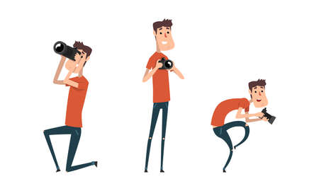 Man Paparazzi Taking Photo with Camera Set, Funny Photographer with Camera in Various Poses Cartoon Vector Illustration
