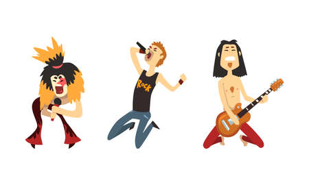 Rock Band Musicians Playing Guitar and Singing Set, Rock Stars Characters, Singer and Guitarists Cartoon Vector Illustratio