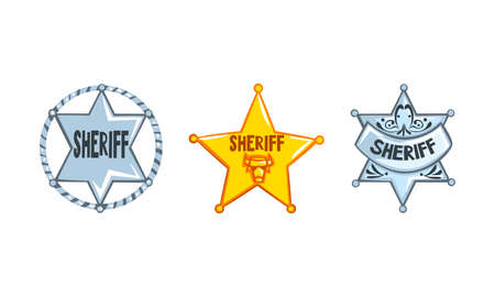 Sheriff Stars Badges Set, Western Ranger Sheriff Signs Cartoon Vector Illustration