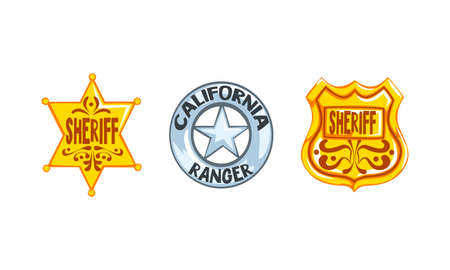 Sheriff Stars and Shield Badges Set, Western Ranger Sheriff Signs Cartoon Vector Illustration