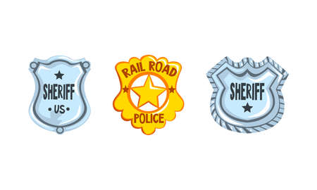 Sheriff Shields and Stars Badges Set, Golden and Silver Western Ranger Sheriff Signs Cartoon Vector Illustration