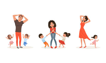 Tired Parents and Children Set, Stressed Exhausted Dad and Mom with Naughty Playful Kids Cartoon Vector Illustration