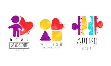 Autism and Down Syndrome Bright Design Templates Set, Awareness Concept, Kids Center, Charitable Organization Colorful Emblem Vector Illustration
