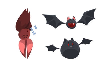 Cute Bats Set, Funny Halloween Animal Characters Cartoon Vector Illustration Иллюстрация