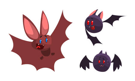 Cute Bats Set, Funny Funny Vampire Animal Characters Cartoon Vector Illustration Иллюстрация