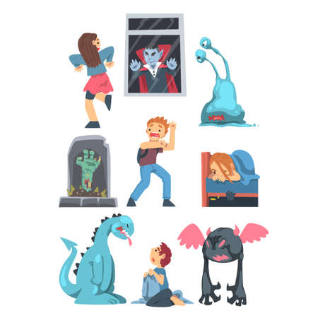 Childhood Fears with Scary Monsters Frightening Little Kids Vector Set