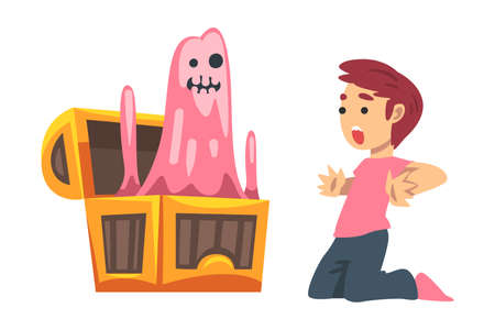 Scared Little Boy Screaming Afraid of Ghost Peeped out from Chest as Childhood Fear Vector Illustration