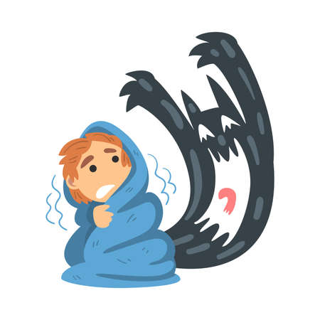 Childhood Fear with Scary Monster Frightening Little Boy Covered with Blanket Vector Illustration
