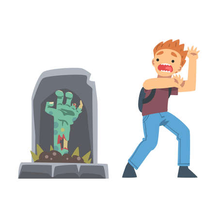 Little Boy Screaming Imagining Zombie Hand Appearing from Tomb as Childhood Fear Vector Illustration Ilustração