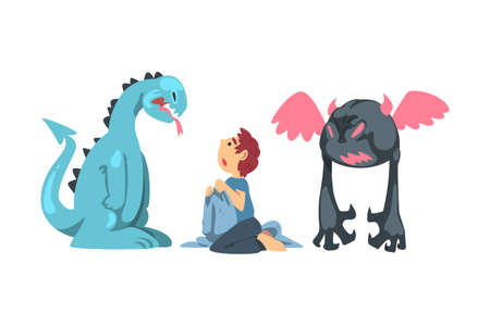Childhood Fear with Scary Monster Frightening Little Boy Vector Illustration