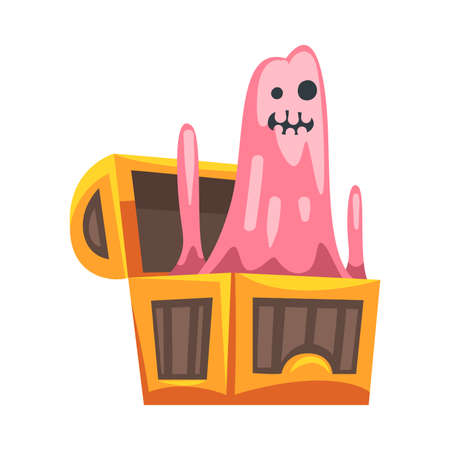 Spooky Monster or Ghost as Grotesque Creature with Terrifying Appearance Peeped Out from Wooden Chest Vector Illustration