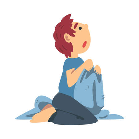 Little Fearful Boy Sitting and Trembling with Fear Afraid of Something Vector Illustration