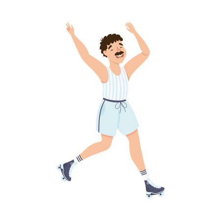 Moustached Man Character Dancing on Roller Skates Performing Tricky Movement Vector Illustration
