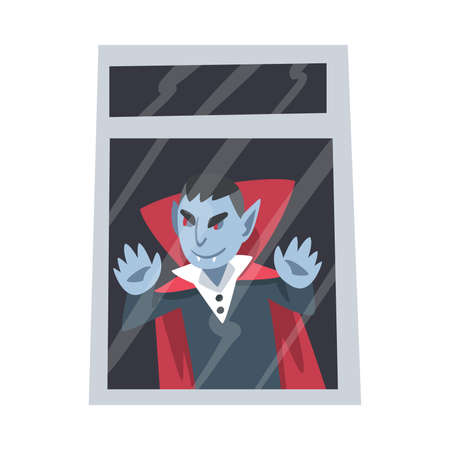 Spooky Count Dracula or Vampire Monster as Grotesque Creature with Terrifying Appearance Standing Behind the Window Vector Illustration