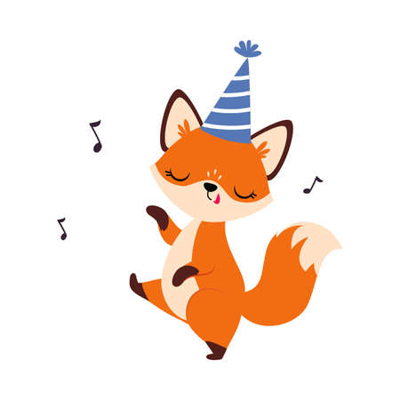 Cute Little Fox Wearing Hat Singing and Dancing Vector Illustration