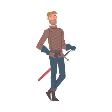 Knight in Gloves Standing with Sharp Sword Vector Illustration