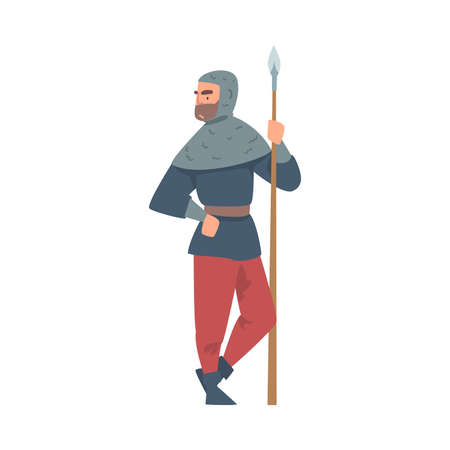 Royal Guardian or Knight in Mail-armour Standing with Sharp Spear Vector Illustration