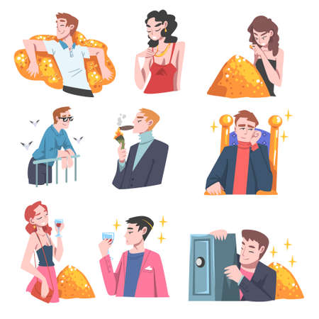 Rich and Wealthy People Characters Having Abundance of Financial Assets Rolling in Cash Vector Illustration Set Ilustração Vetorial