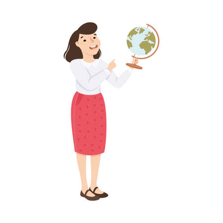 Woman Geography School Teacher or Educator Holding Globe Vector Illustration