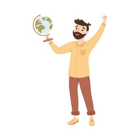Bearded Man Geography School Teacher or Educator Holding Globe Vector Illustration