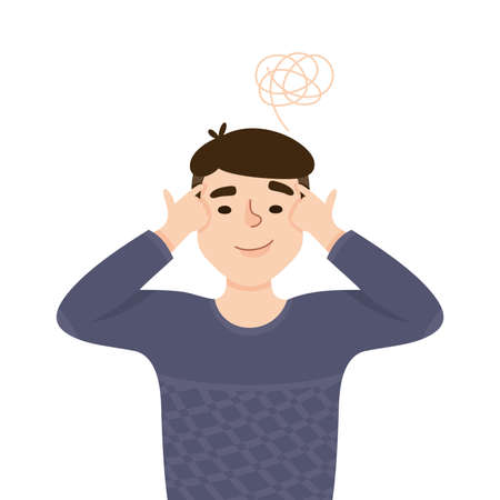 Young Man Solving Puzzle in His Head Thinking and Figuring Something out Half Length Vector Illustration