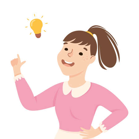 Beaming Woman with Glowing Lightbulb Having Idea Finding Problem or Puzzle Solution Half Length Vector Illustration