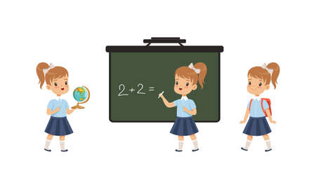 Cute Elementary School Students Studying at School, Adorable Girls Standing on front of Blackboard, Back to School Concept Cartoon Vector Illustration